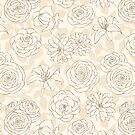 Floral Pattern in Brown Pastel Colors by Anastasia Shemetova
