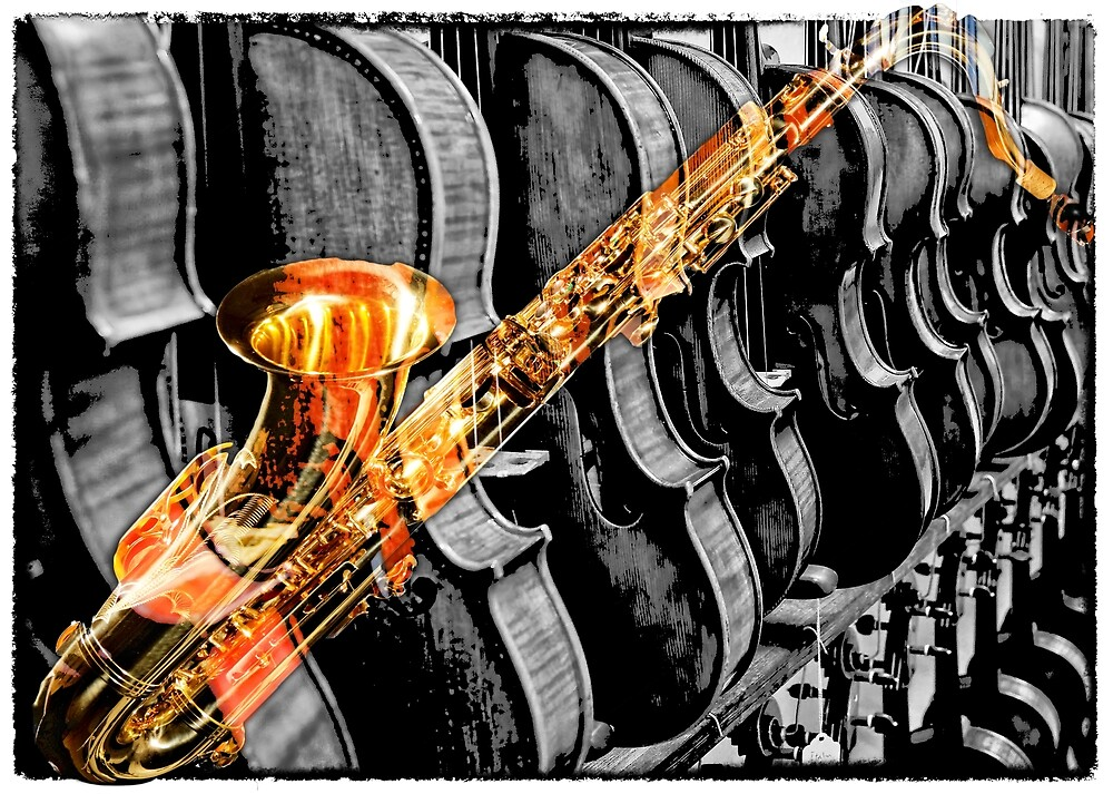Sax and Violins - Selective Color by Warren Paul Harris