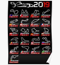 Calendar F1 2019 circuits sport Poster