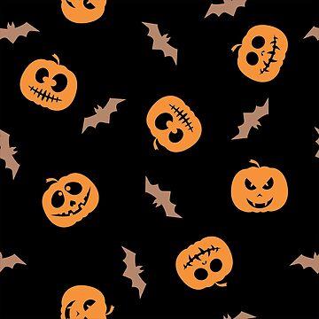 Pumpkin silhouette and flying bat. Happy Halloween by alijun