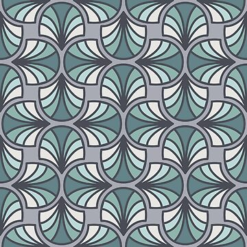 Geometric Pattern: Art Deco: Curve: Seafoam by redwolfoz