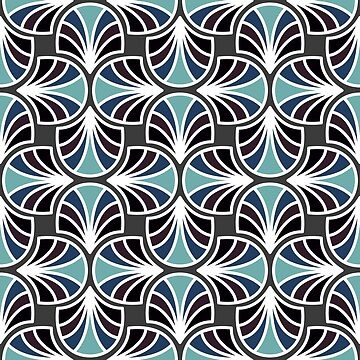 Geometric Pattern: Art Deco: Curve: Midnight by redwolfoz