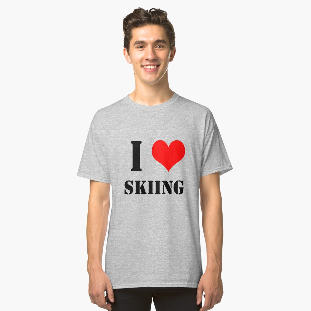 I Love Skiing Design lettering with heart Classic T-Shirt Front