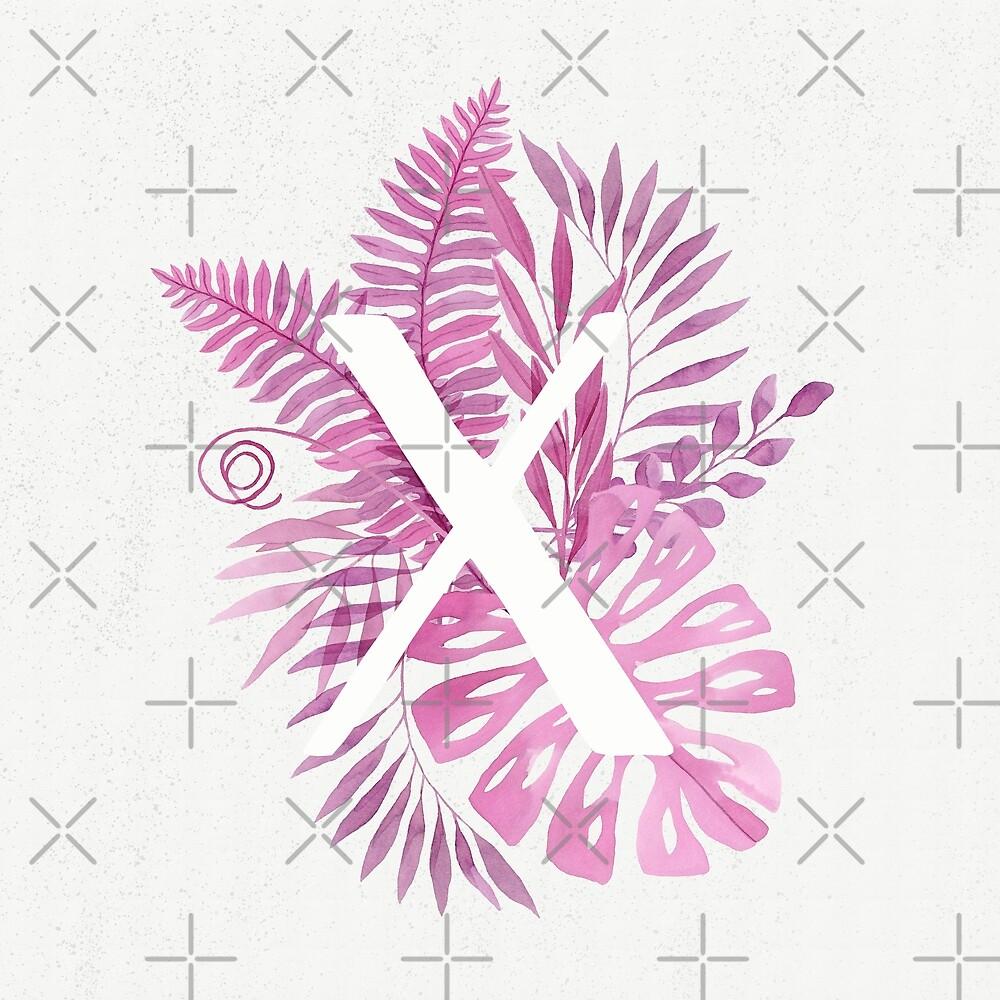 Monogram X in pink tropical watercolor leaves by helga-wigandt