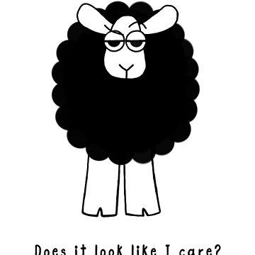 Look Like I Care Sheep - black text by WeBeBlacksheep
