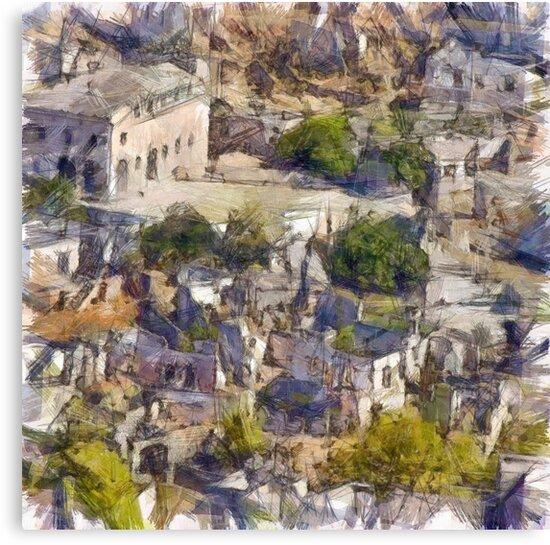 Rock Village of Kayakoy AKA Levissi Pencil Sketch by taiche