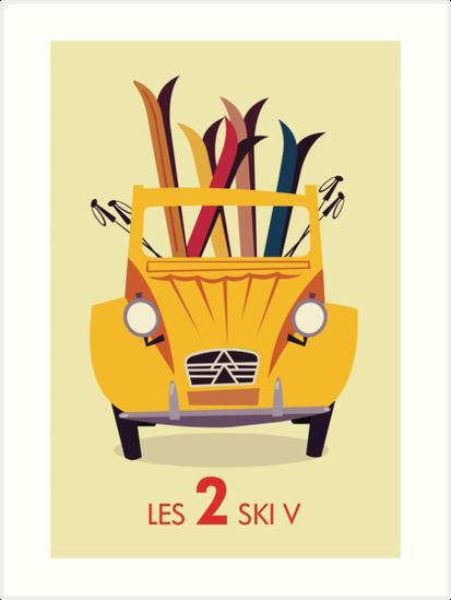Les 2 Ski V retro poster by Gary Godel