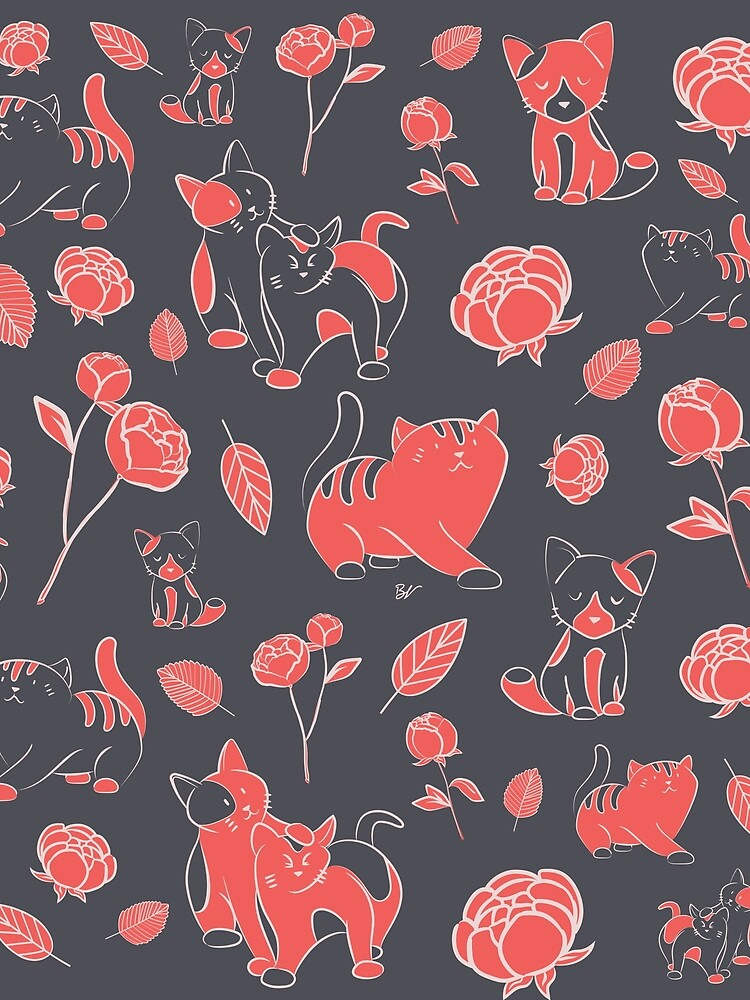 Cats and Peony grey and coral by BlueVein