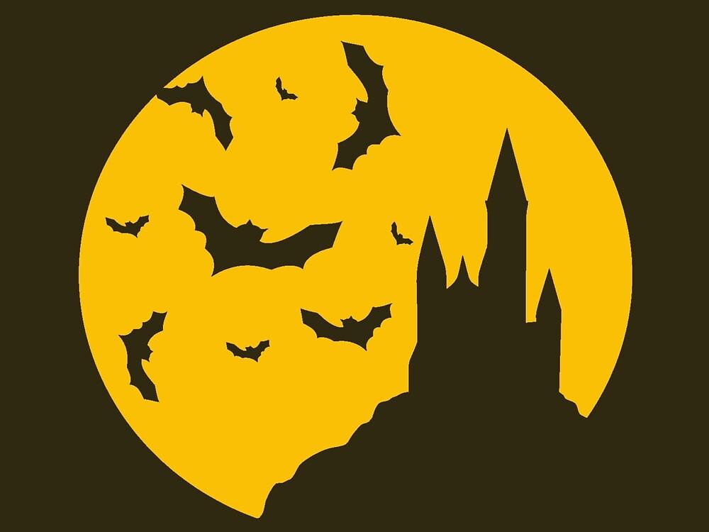 Castle & bats on yellow moon by berezitski