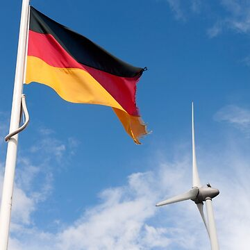 German flag and wind turbine. Deutsche Flagge und Windturbine. by stuwdamdorp