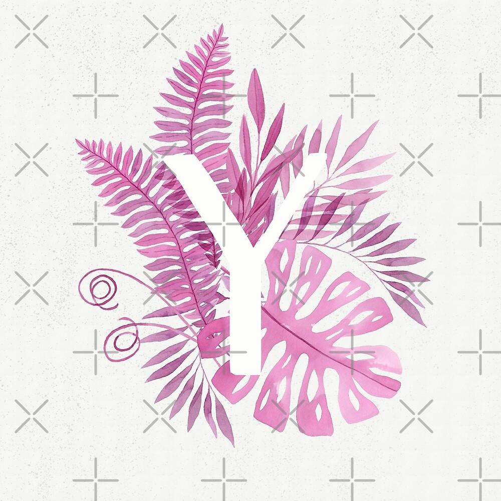 Monogram Y in pink tropical watercolor leaves by helga-wigandt