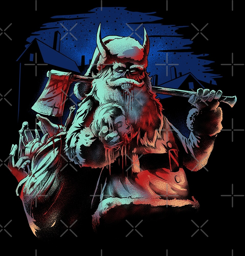 Evil Santa Claus with Axe and Head in his Hand by Purgatory-Art