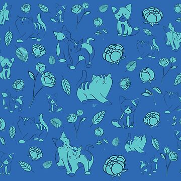 Cats and Peony blue and turquoise by BlueVein
