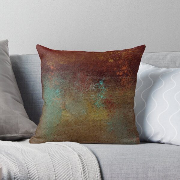 Copper, Turquoise, and Gold Textures Throw Pillow