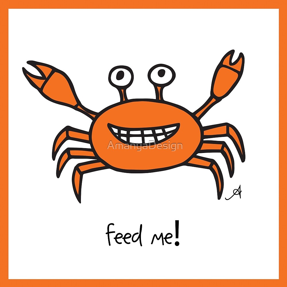 Mr and Mrs Crabby Amanya Design White Single FEED ME! by AmanyaDesign