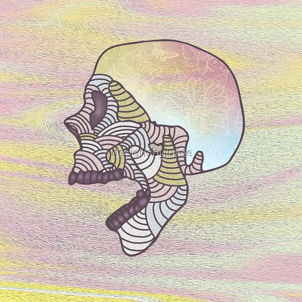 Pastel Textured Skull by designsbyjuliee