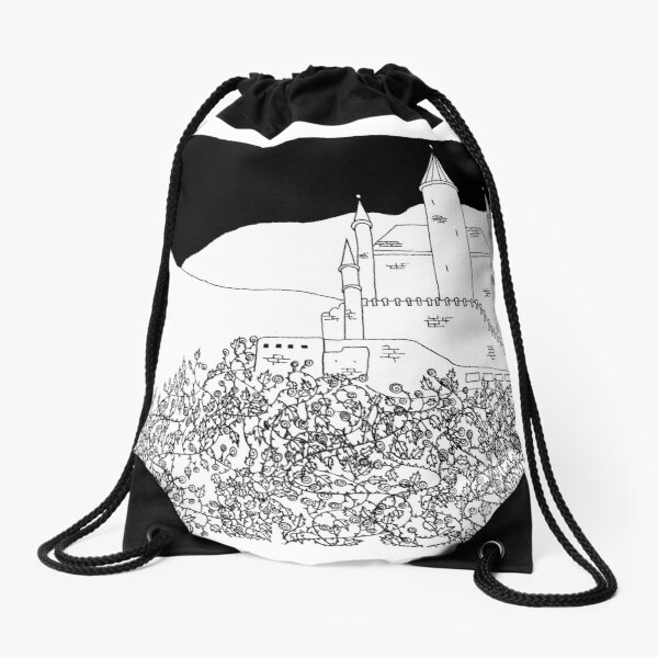 Sleeping Beauty's Castle Drawstring Bag