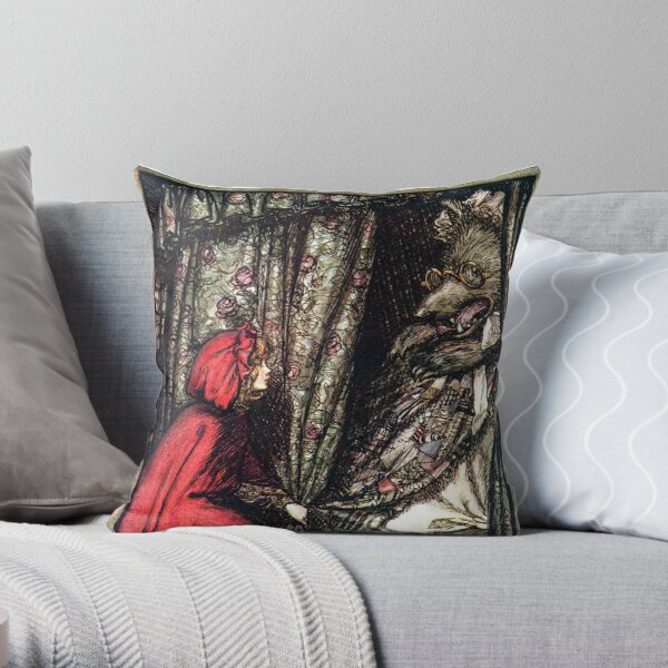 Red Riding Hood and the Wolf - Brothers Grimm - Arthur Rackham Throw Pillow