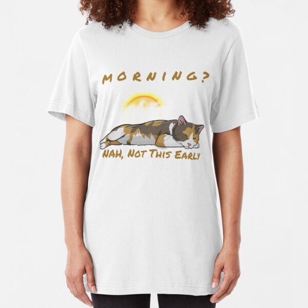 Calico cat sleeping through morning Slim Fit T-Shirt