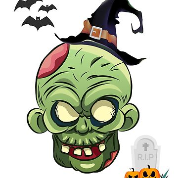 Zombie Halloween With Bats And Pumpkin by AYmanee