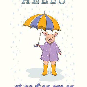 cute piggy with umbrella  by AlinNova