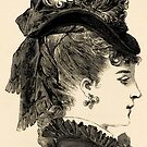 Victorian Lady in Hat of Black Satin-Finished Chip by VictorianTrends
