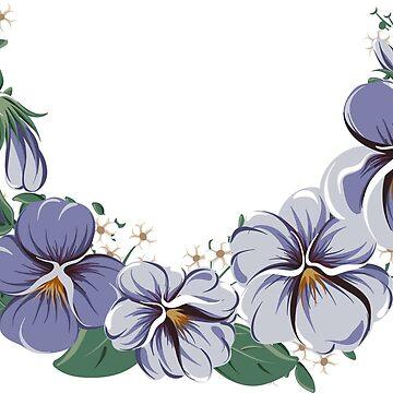half-round floral frame wreath with viola flowers by amekamura