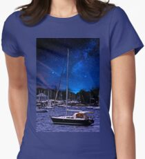 Midnight Sail Boats  Women's Fitted T-Shirt