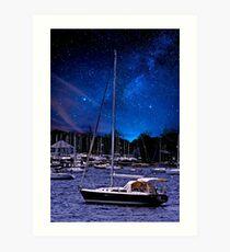 Midnight Sail Boats  Art Print