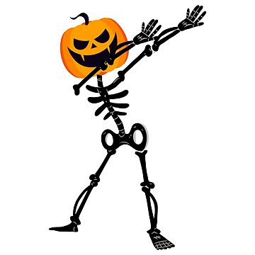 Dabbing Dab Skeleton Pumpkin Halloween Funny by miracletee