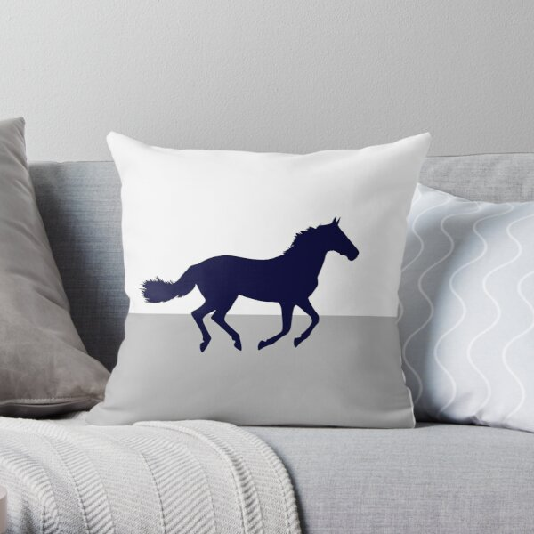 Navy Blue Horse On Silver Gray And White Throw Pillow