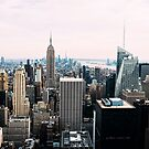 Aerial view at sunset of New York City  by JJFarquitectos