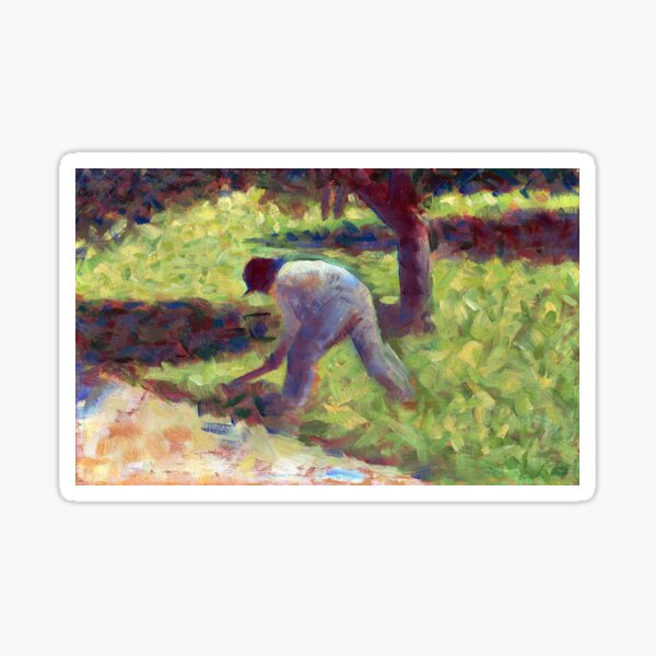 Georges Seurat Peasant with a Hoe Sticker