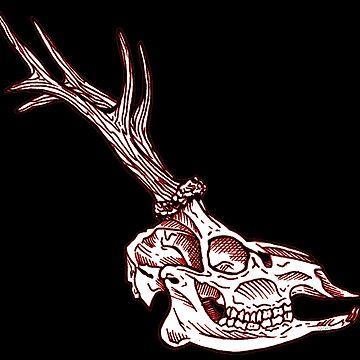 skull engraved deer by Galbrin