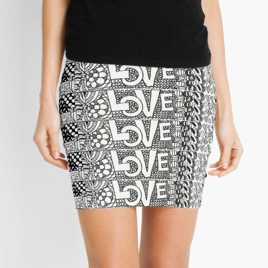 Love & Peace Doodle Border Mini Skirt