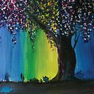 Lone Willow Tree with Blue, Green and Yellow Lighting Acrylic Reproduction Painting by Ceri Clark