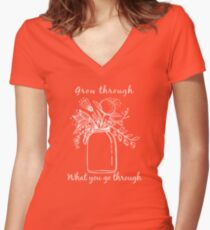 Grow through what you go through Women's Fitted V-Neck T-Shirt
