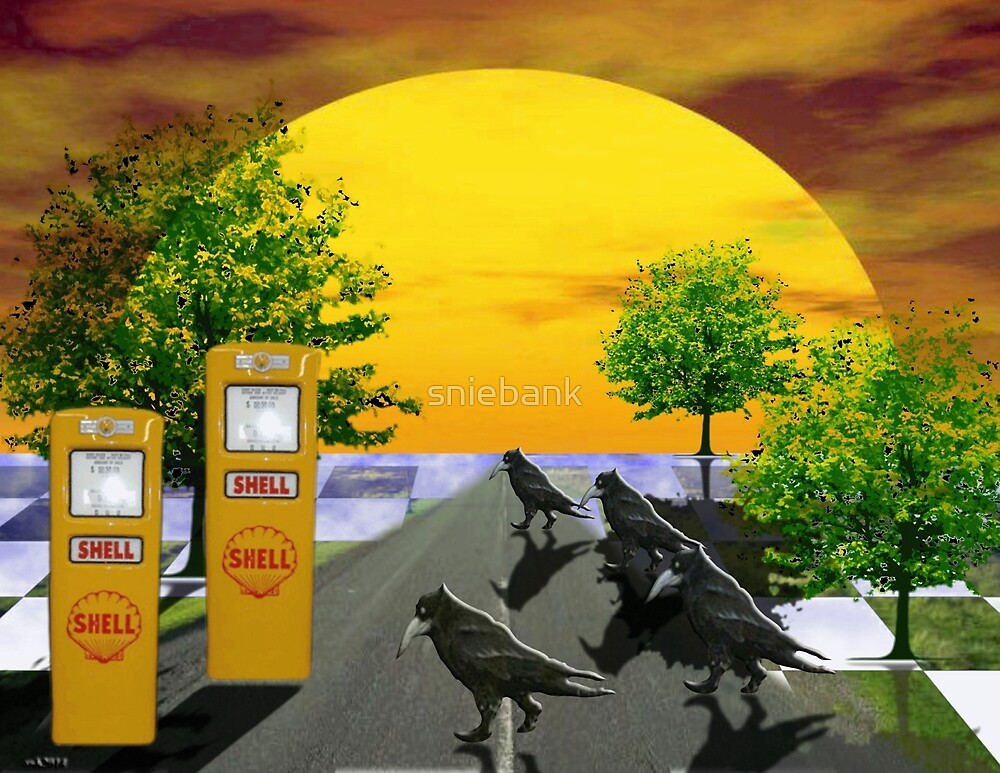 Dream Gas station and Black Birds by Sarah Niebank