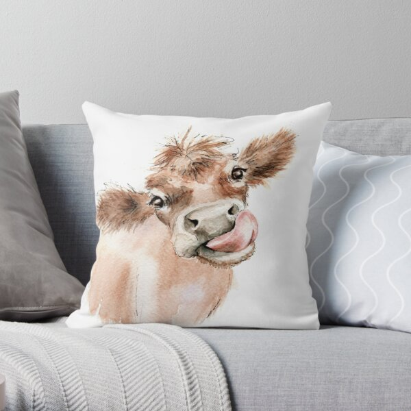 Funky Cow Throw Pillow
