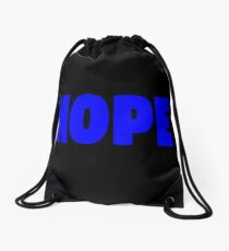 Nope Blue Drawstring Bag