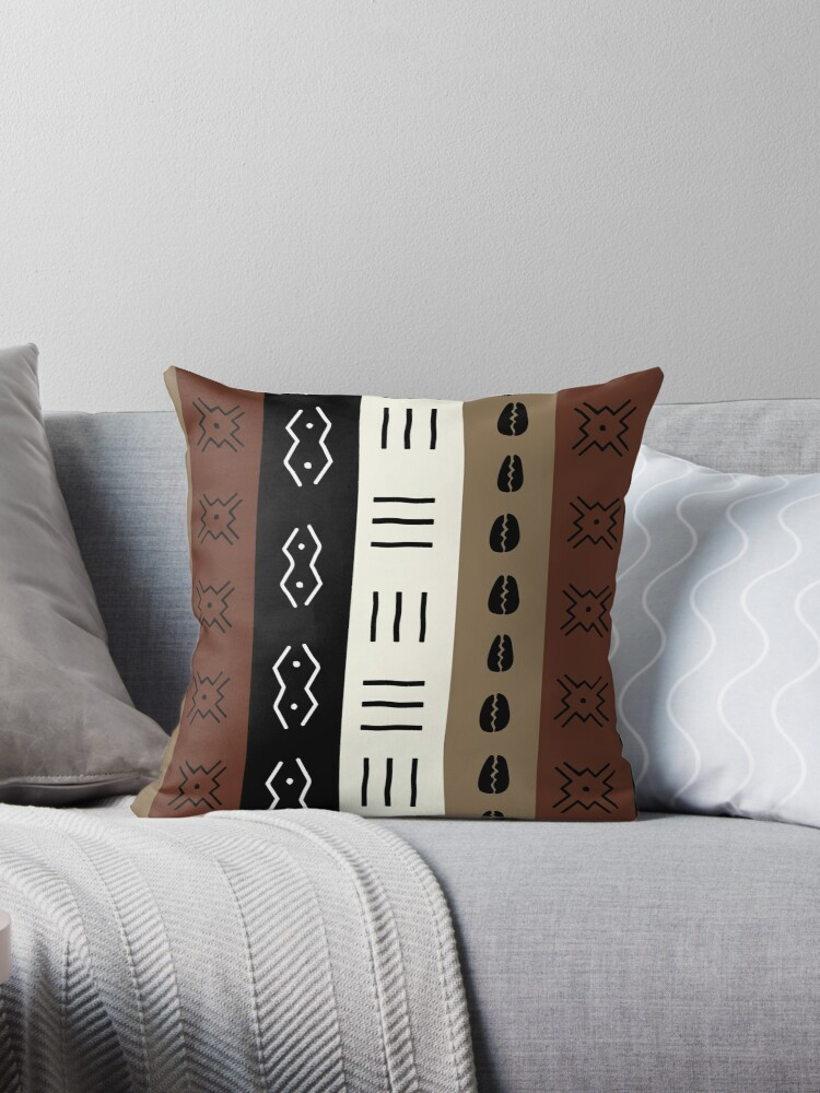 Mudprint Stripes Earth Tone Pattern Throw Pillows By Cloud40hopper Delectable Earth Tone Decorative Pillows