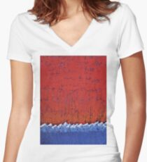 Snowcaps original painting Women's Fitted V-Neck T-Shirt