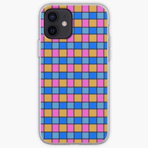 Blue, yellow and pink checkered iPhone Soft Case