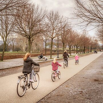 Winter Scene People at Park, Lucca, Italy by DFLCreative