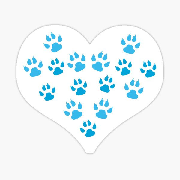 Heart with Paw Prints Design - I love Dogs Sticker