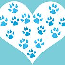 Heart with Paw Prints Design - I love Dogs by Ceri Clark