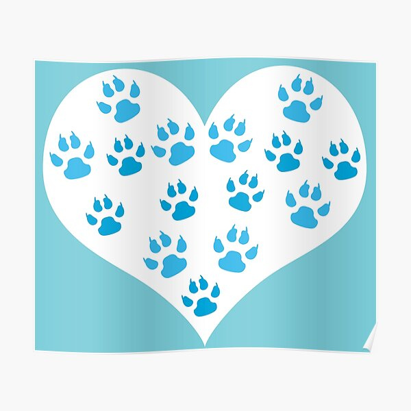 Heart with Paw Prints Design - I love Dogs Poster