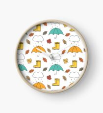 cute lovely autumn pattern background illustration with umbrellas, rain, clouds, leaves and boots Clock