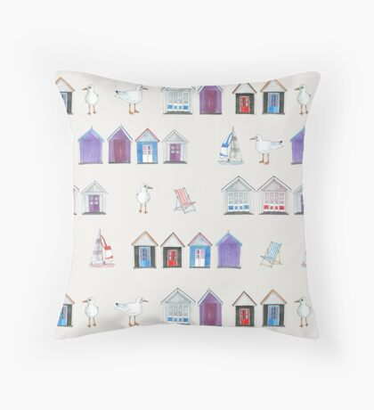 Beach Huts, Bournemouth - on grey - original watercolour pattern by Cecca Designs Floor Pillow