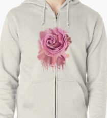 the pink rose Zipped Hoodie